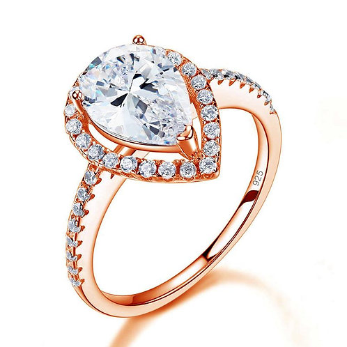 2 Ct Pear Cut Rose Gold Plated Ring