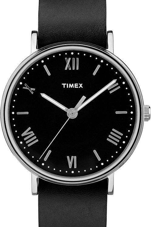 Timex Men's Southview Silvertone Black Leather Strap Watch