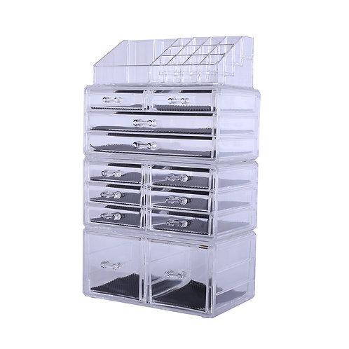 4Pcs/Set Plastic Cosmetics Storage Rack Transparent