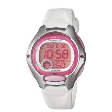 Casio Women's Digital Watch with White Resin Strap