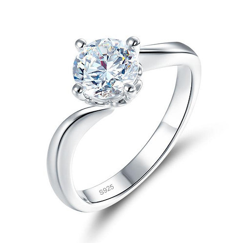 Solitaire Swirl Engagement Ring