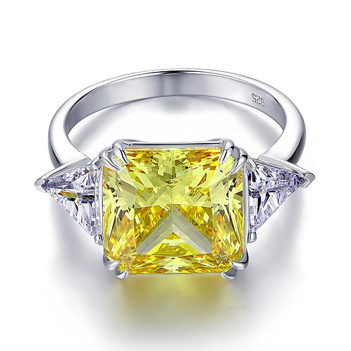 Three-Stone 8 Carat Yellow Canary Created Ring