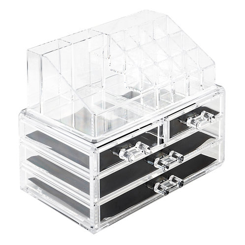 Acrylic Cosmetics Storage Rack with 4 Drawers Transparent