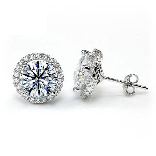 2 Carat Round Cut Diamond Halo Stud Earrings