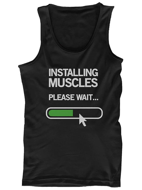 Installing Muscles Please Wait Men's Workout Tank Top Black Tanks for Gym