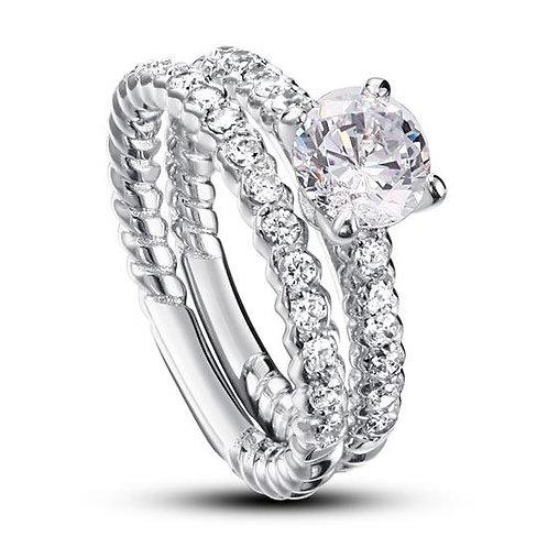 2-Piece Diamond Wedding Engagement Ring Set