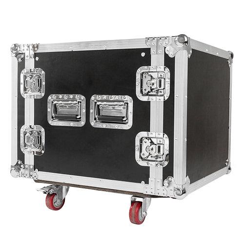 """19"""" Single Layer Double Door DJ Equipment Cabinet Black & Silver"""