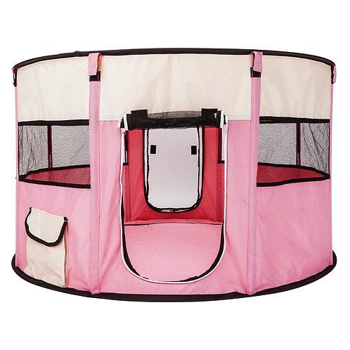 "40"" Circular Portable Mesh Pet Playpen Fence in Pink"