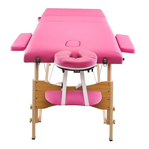 3 Sections Folding Portable Beauty Massage Table Set in Pink