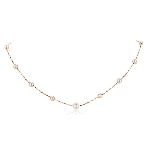Rose Gold Pearl Necklace 18K