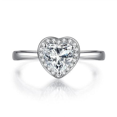 1 Carat Halo Heart Diamond Engagement Ring