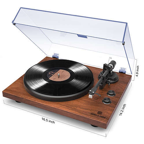 Bluetooth Record Player Vinyl Turntable with Vintage Stereo 2-Speeds