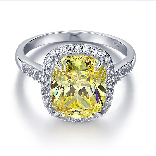 6 ct Cushion Cut Yellow Canary Created Diamante Engagement Ring