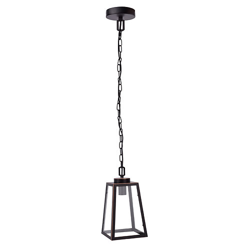 American Wrought Iron Glass Chandelier in Black