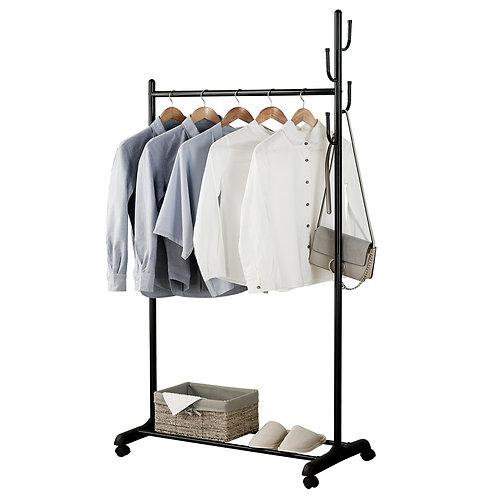2-in-1 Rolling Coat Rack and Garment Shelves in Black