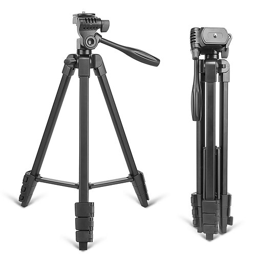 Portable Tripod with Phone Clip and Bluetooth Remote in Black