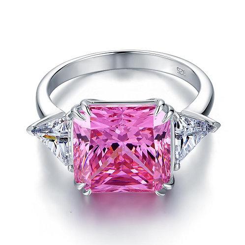 Three-Stone 8 Carat Pink Created Ring