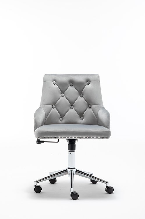 Modern High Back Office Chair with Pull Ring in Grey