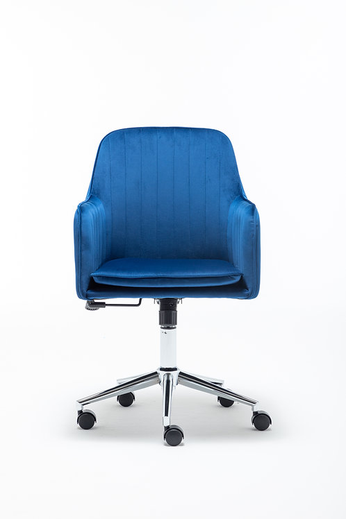 Modern Home Office Swivel Chair with Metal Base and Arms in Blue