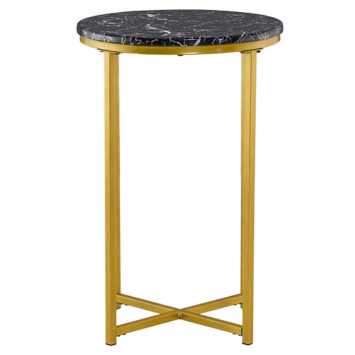 Simple Round Marble End Table in Black