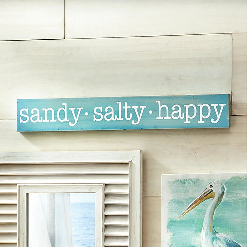 Sandy Salty Happy Wooden Sign Decoration