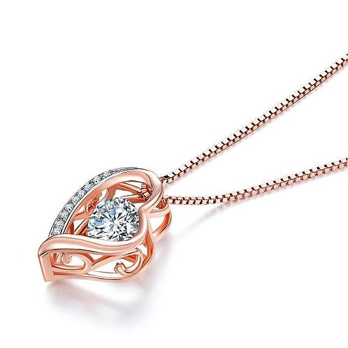 Dancing Stone Heart Pendant Necklace