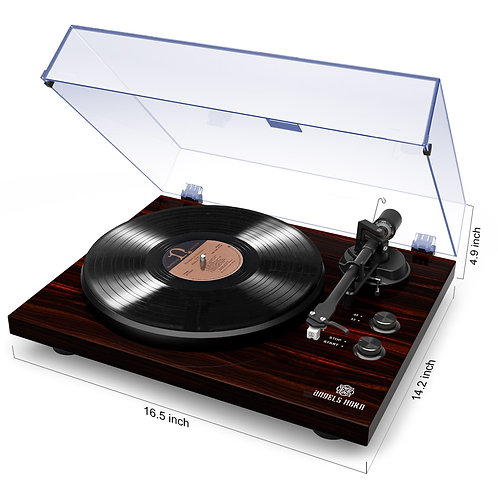 Bluetooth Turntable Stereo Record Player with Built-in 2-Speeds