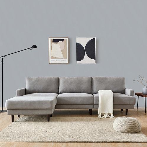 Modern Gray Fabric L shaped Sofa with Ottoman