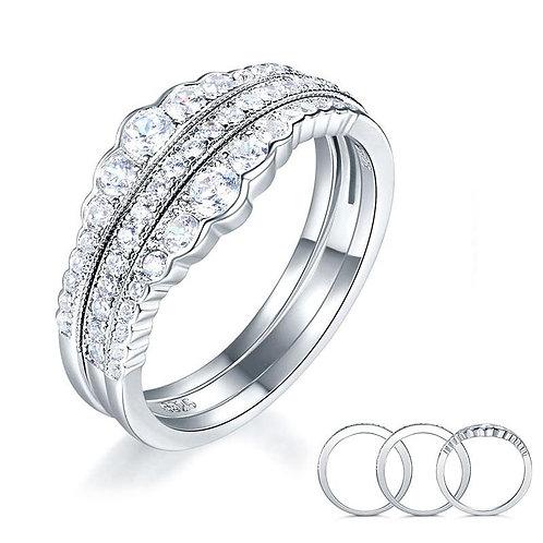 3-Piece Silver Wedding Band Ring Set