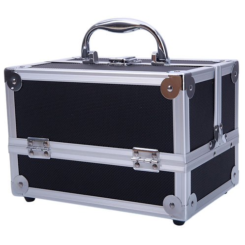 "Aluminum Makeup Case  and Organizer with Mirror 9"""