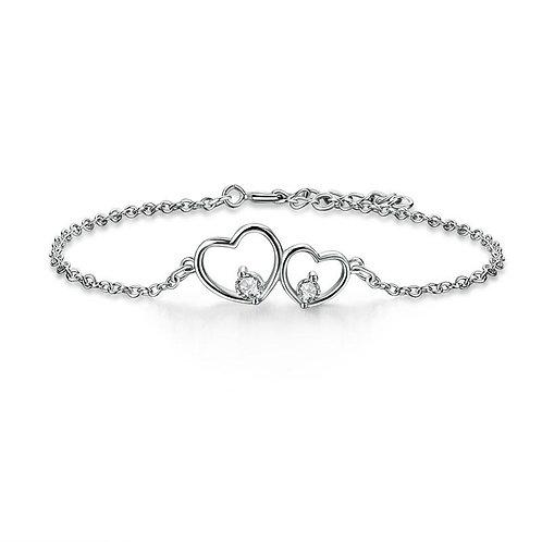 Solid 925 Sterling Silver Bracelet Double Heart