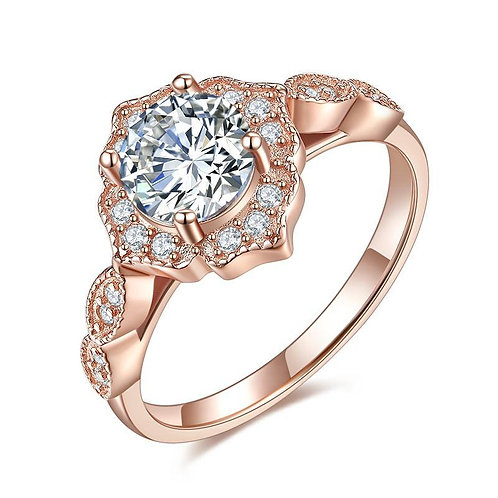 Vintage Style Art Deco Rose Gold Plated Ring