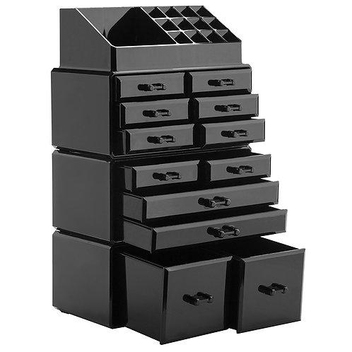 4Pcs/Set Plastic Cosmetics Storage Rack in Black