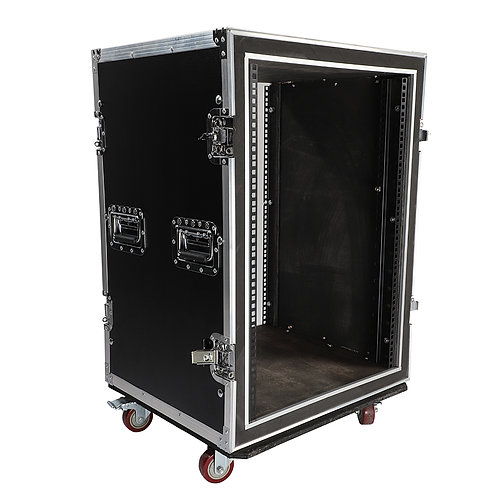 """19"""" 16U Double Layer Double Door DJ Cabinet Black & Silver"""