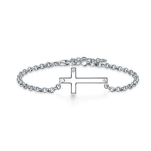 Solid 925 Sterling Silver Bracelet Cross Religious