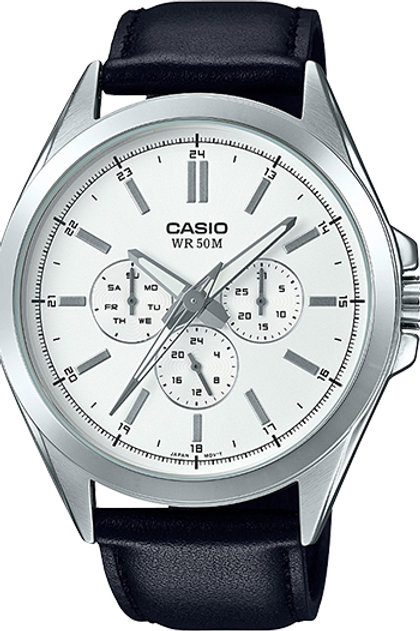Casio Men's Classic Multi-Hand Black Leather Strap Watch