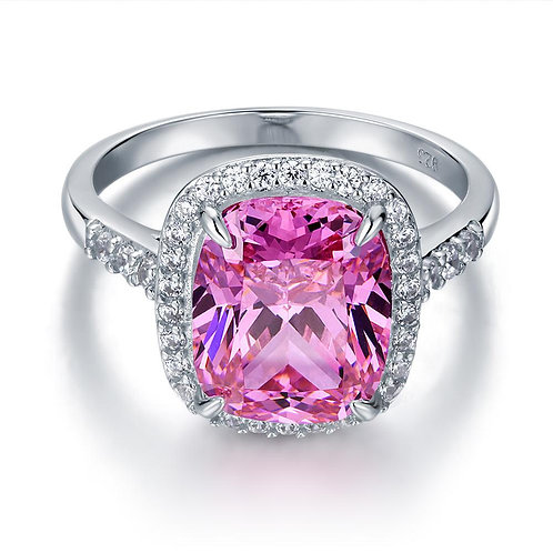 6 Ct Cushion Fancy Pink Created Diamond Engagement Ring
