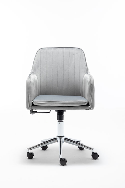 Modern Home Office Swivel Chair with Metal Base and Arms in Grey