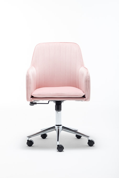 Modern Home Office Swivel Chair with Metal Base and Arms in Pink