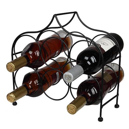 6 Bottle Metal Wine Rack for Countertop in Black