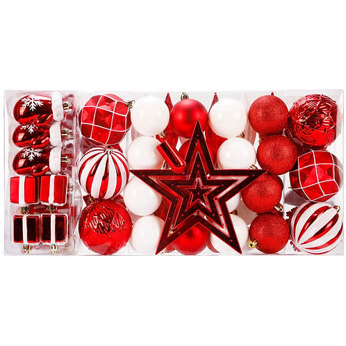 88 Piece Assorted Christmas Tree Ornaments Set