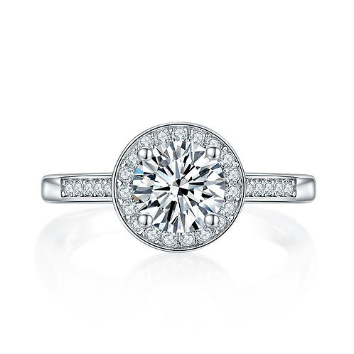 1 Carat Moissanite Diamond Halo Engagement Ring
