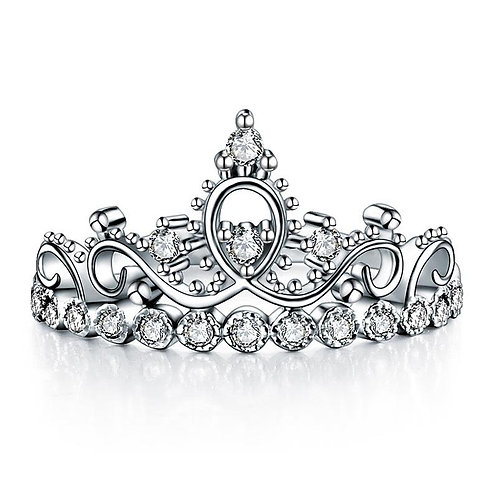 Solid 925 Sterling Silver Crown Ring