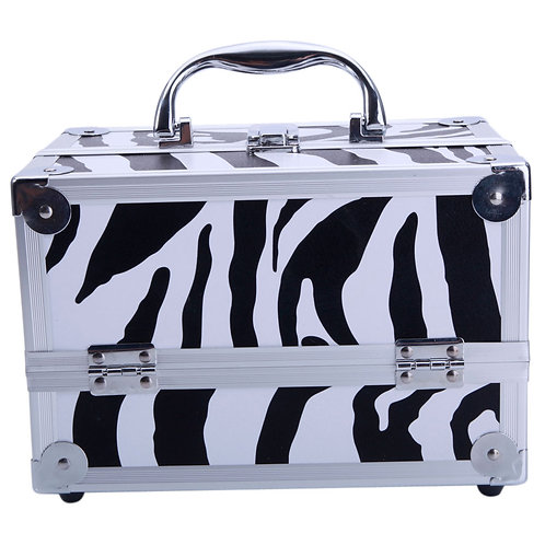 Aluminum Makeup Case and Cosmetic Organizer with Mirror