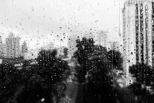 Singapore travel rainy day black and white