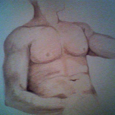 I took a life drawing class years ago and this guy was one of the models. He ended up moving his position so I was unable to complete the drawing or the dimensions wouldn't have looked right.
