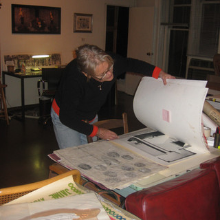 Organizing her archive for Stanford University Library-Special Collections, 2010