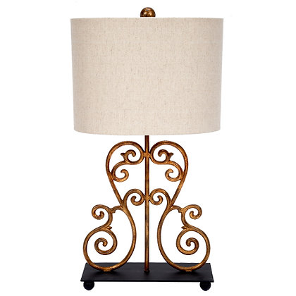 Gold scroll lamp