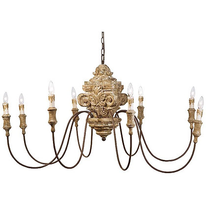 Antique Wood Carved Chandelier