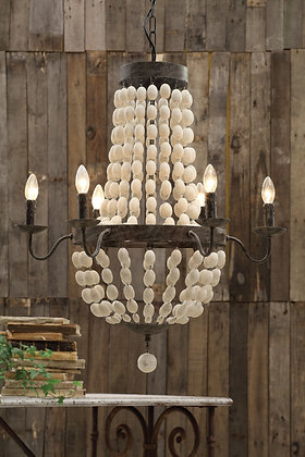 Iron chandelier with wooden beads